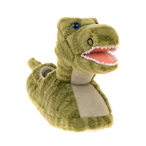 Build A Bear Kids Boys Big Head Dinosaur Non Skid Plush Slippers
