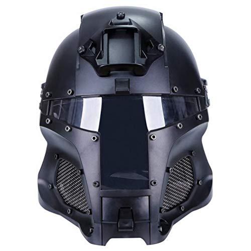 Cosplay Airsoft Full Face Head Helmet Tactical Riding Sorta-Kinda Mandalorian/Boba Fett/Galac-Tac Style Helmet with Exchangable Lens(Black)