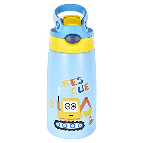 Licorne Kids Water Bottle, Thermos with Straw Lid, Double Wall Tumbler Travel Cup, Insulated Stainless Steel Bottle, BPA Free, Leakproof, 12oz Sports Water Bottle, Keep 24H Cooling & 12H Warm (Blue)