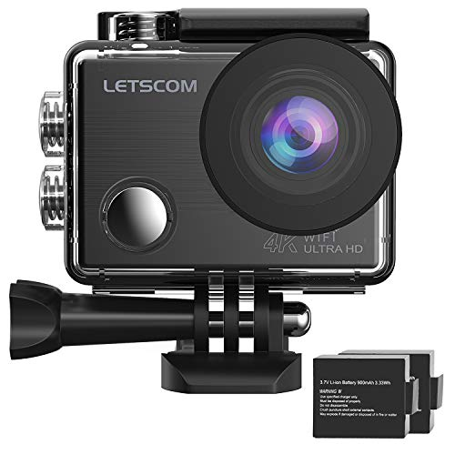 LETSCOM 4k WiFi Sports Action Camera 16MP HD Underwater Waterproof DV Camcorder, 2 Batteries, 170° Ultra Wide Angle, Travel Video Sports Vlog Camera with Helmet Accessories