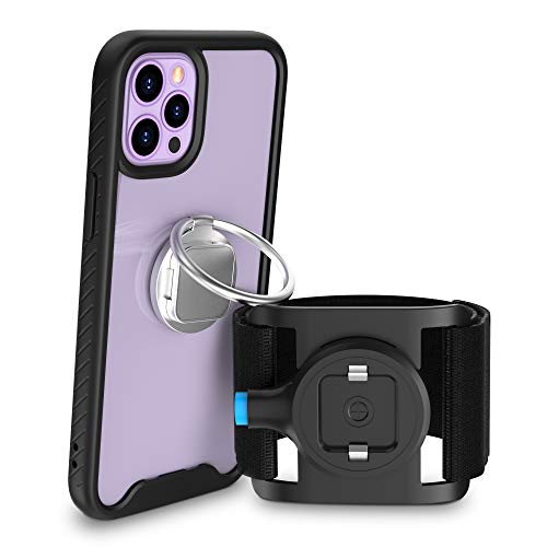 SPORTLINK Compatible with iPhone 12 Pro Max Running Armband, Cell Phone Armband Holder for Running with Clear Shockproof Case & Phone Ring Holder for Workout Sports Fitness