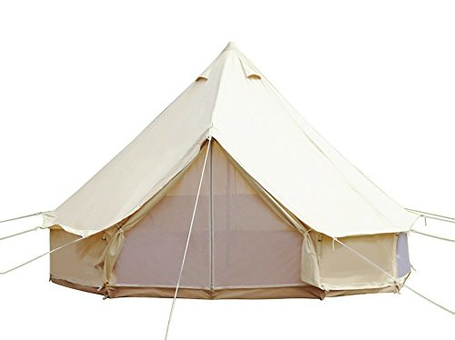UNISTRENGH 4 Seasons Large Luxury Bell Tents Glamping Waterproof Cotton Canvas Yurt Family Tents for Outdoor Camping Hiking Birthday Party (Diameter: 4M/13.1ft)