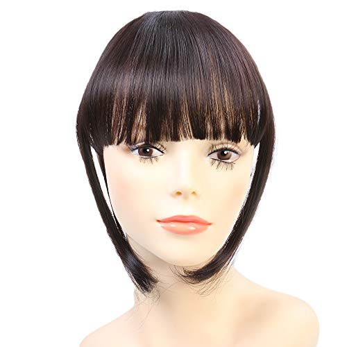 Clip in Hair Bangs Fringe Bangs Hair Extensions Straight Clip on Bangs with Temple Hairpieces Accessories for Women (Natural Blonde)