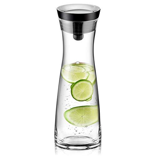 susteas 1200ml Glas Karaffe Krug mit Deckel und Auslauf, Wasserkaraffe, Eistee Krug, Saft Krug, für hausgemachte Getränke/Eistee/Milch/Kaffee/Wein