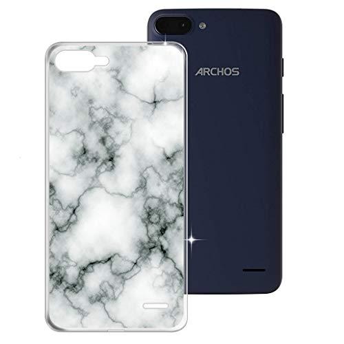 HHUAN Hülle für Archos Core 55S Ultra Semi-Transparent Hülle Dünn Weiche Silikon Marmor Stoßfest Handyhülle Tasche Schale Bumper TPU Schutzhülle Cover für Archos Core 55S Ultra (5.45