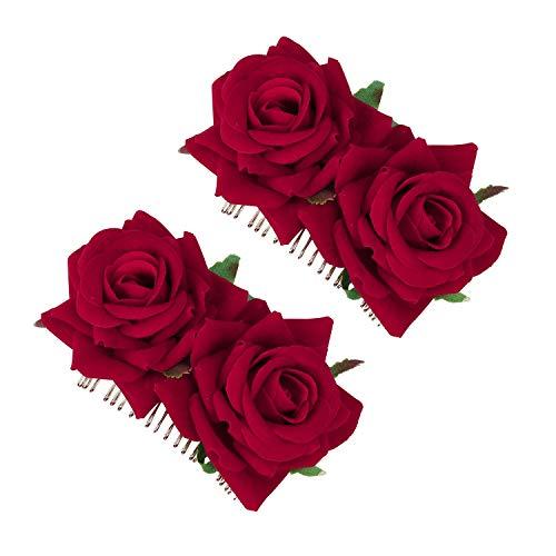 MaoXinTek Clips de Pelo de Flor Horquillas con Rosas