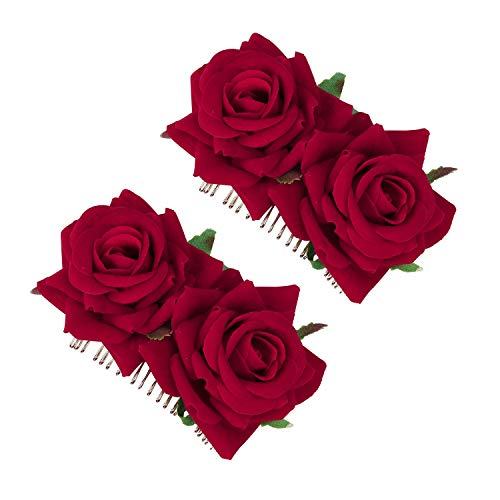 Pince à Cheveux Fleur Femmes Rose Fleur Accessoires de Cheveux de Mariage Clip de Cheveux Danseur de Flamenco, Accessoire de Mariage Fait main Fête 2 Pièces (Rouge)