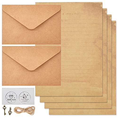 Qixuer 1 Set Ensembles de Papier à Lettre Vintage,Papier à Lettre Vintage et Enveloppe Papier Papeterie Vintage Enveloppes Vintage Imprimables Pour Ecriture et Impression D'imprimante
