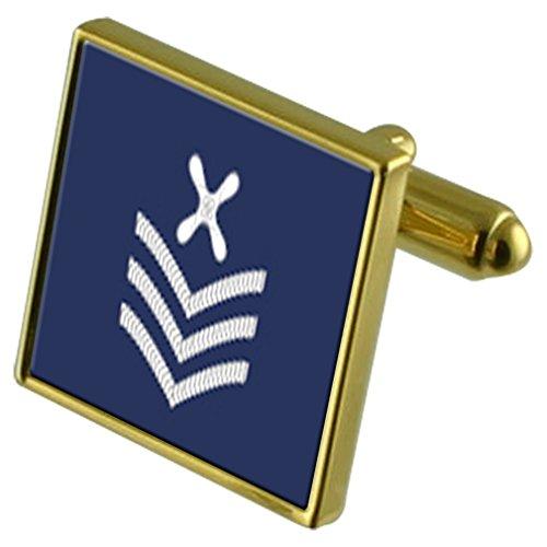 Select Gifts RAF Insigne armée de l'air Technicien en chef de rang Gold-tone de manchette Crystal-cravate Cadeau