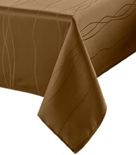 Benson Mills Gourmet Spillproof Fabric Tablecloth, Linen, 60-inch-by-104-inch