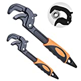 """Boeray 2 Pack Adjustable Wrench Quick Multi-function Self-Adjusting Spanner Power Grip Pipe Wrench 0.6""""-2.4""""/14mm-60mm"""