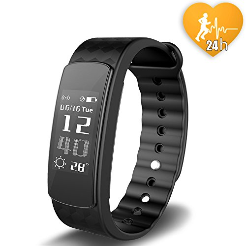 Braccialetto Intelligente, JoyGeek Fitness attività impermeabile Smart Wristband con OLED touch screen, Bluetooth 4.0, pedometro, Wristband, Sleep Monitor per IOS iPhone, Samsung, Huawei,