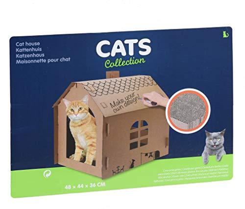 Spetebo Katzenhaus aus Wellpappe - 48x44x36 cm - DIY Katzenhütte zum selber gestalten - Katzenhöhle Katzenhäuschen