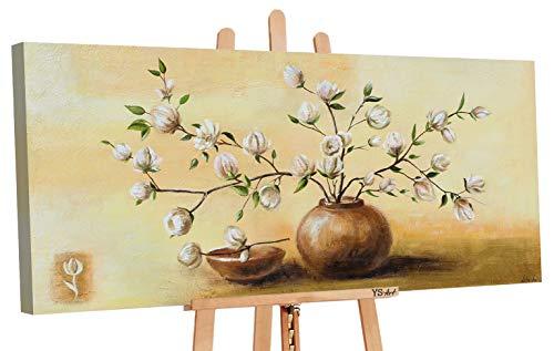 YS-Art | Cuadro Pintado a Mano Maceta con Flores II | Cuadro Moderno acrilico| 115x50 cm | Lienzo Pintado a Mano | Cuadros Dormitories | único | Castaño