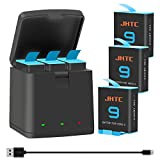JHTC Rechargeable Batteries (1800mAh) 3 Packs and Triple Quick Type-C Charger for GoPro Hero 9 Black (Fully Compatible with GoPro Hero 9 Charger and Battery)