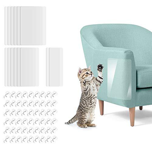 SITAKE 14 Stück Kratzschutz für Haustiere Einstellen, 3 Größen Premium Selbstklebende Pet Scratch Guards mit 60 Stück Stiften, Durchsichtiger Cat Möbelschutz für Polster, Sofa, Tür, Wand