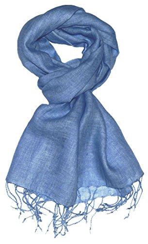 LORENZO CANA - Luxus Herren Schal Leinenschal 100{c3a615e99e1e96fd0424b17e53a0b8e89ef28004af0b5a6c29fc39d8d4d8946e} Leinen 70 cm x 180 cm Tuch Naturfaser Hellblau Airy Blue 9326511