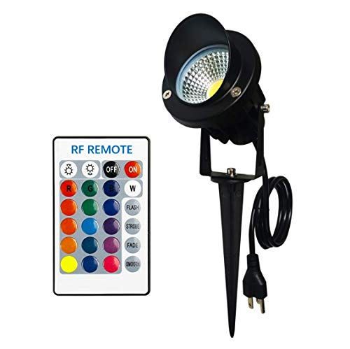 Color Changing LED Landscape Lights with RF Remote 10W RGB Waterproof Outdoor Tree Garden Holiday Lighting with US Plug