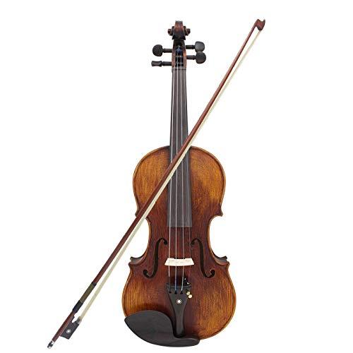 KEPOHK Violín de violín de tamaño completo 4/4, madera maciza hecha a mano con estuche de transporte, sintonizador, cuerda para el descanso del hombro, paño de limpieza, colofonia, asshow
