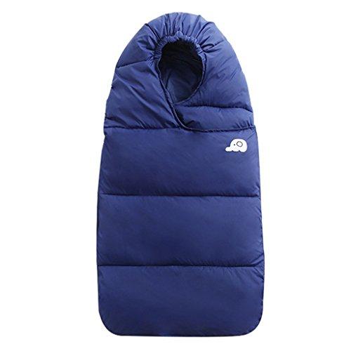 WYT Bebé Saco de dormir Para invierno Pluma abajo Algodón Grueso Recién nacido Envolverse Con Cremallera 93cm,Oscuro Azul