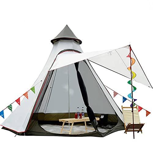 Tienda de campaña de 12'x10'x8'Dome Camping 5-6 Personas 4 Temporadas Doble Capas Impermeable Anti-UV Resistente al Viento Tienda de campaña Familia al aire libre (Blanco)