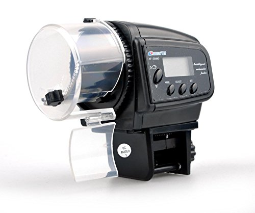Xrten Distributeur Nourriture Poisson, Mangeoire Automatique pour Poissons d'aquarium Automatique Numérique pour Les Poissons LED Minuteur
