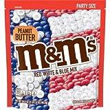 M&M's Peanut Butter Red, White & Blue Patriotic Bulk Chocolate Candy, 34 OZ