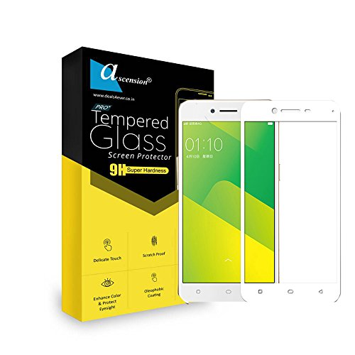 Ascension ® White Border Tempered Gorilla Screen Protector High 9h Hard 2.5D Ultra Clear for Oppo A37 (Set of 2)