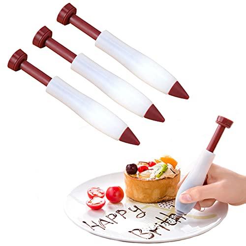 jiele Decoraci�n de pastel de cocina pluma Pastry Cream Chocolate reutilizable Jeringa Bol�grafo,L�piz de reposter�a de silicona Biaohua para decorar con crema galletas pasteles-3pieces