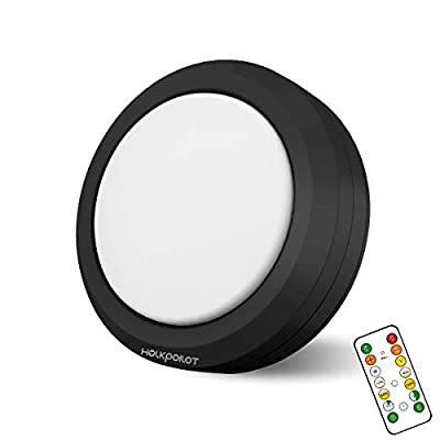 Holkpoilot Puck Lights with Remote Control, LED Under Cabinet Lights,Under Counter Light Battery Operated, Closet Light Dimmable,Wireless Under Cabinet Lighting, Stick On Lights(1PACK)