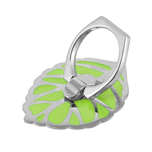 HaiQianXin 360° Rotatie Blad Metaal Sterke Sticky Ring Houder Telefoon Tablet Sticker Mount Stand (Kleur : Zilvergroen)