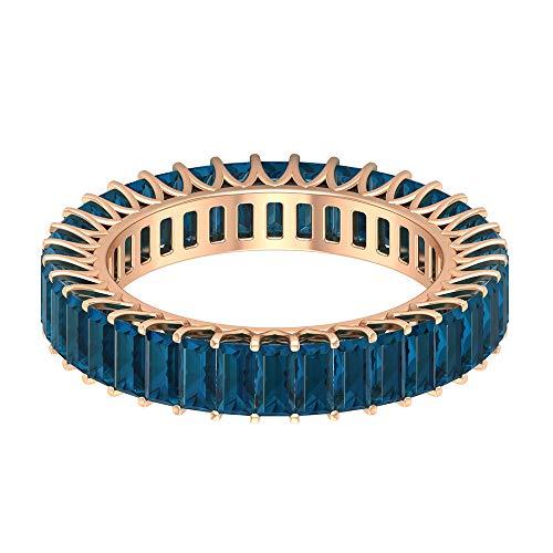 Anillo de eternidad con piedras preciosas, 3,02 ct, 2 x 4 mm, topacio azul, forma de baguette, anillo de la piedra natal de diciembre, 18K Oro rosa, Size:EU 59
