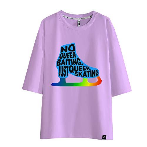 Bqjsdfjegd Yuri on Ice Maglietta T-Shirt Stampata Girocollo Stampata for Il Tempo Libero Uomo (Color : Purple04, Size : M)