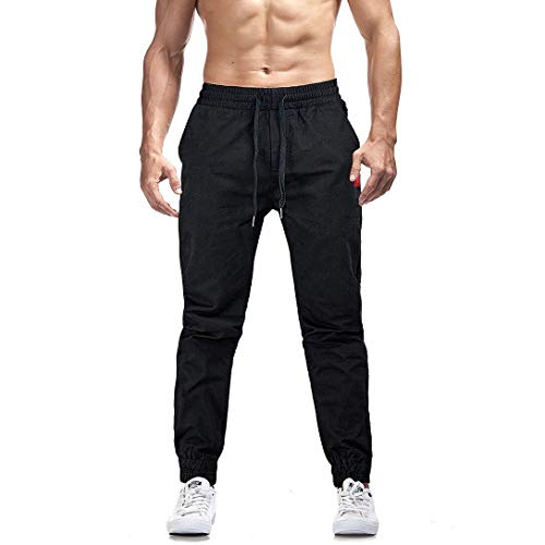 AIMPACT Mens Casual Joggers Sweatpants Twill Slim-Fit Tapered Athletic Jogger Pants for Men(Black 30)