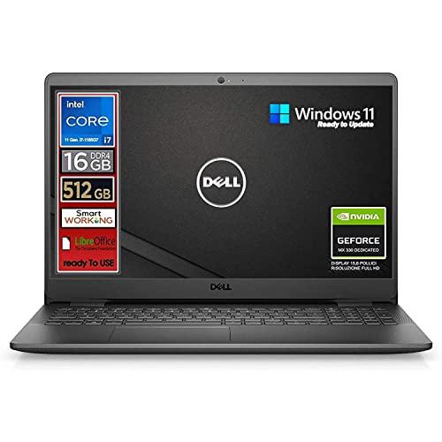 Notebook Dell, Cpu Intel i7 di 11 Gen. 4 core fino a 4,7 GHz, Display 15,6' FullHd, SSD nvme 512 Gb, 16Gb DDR4, Win10 Pro, Svga MX 330 2gb, wi-fi, 4usb, lan, Pronto All'uso, Garanzia e layout Italia