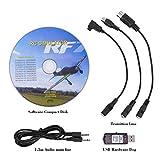 Alomejor USB Flight Simulator, 22 en 1 RC câble adaptateur USB Simulateur de vol pour Realflight Phoenix/XTR/G4/G5/Aero Fly/FMS