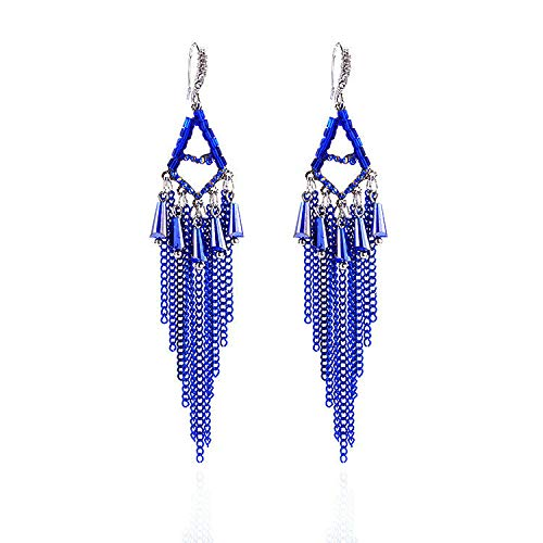 ZRDMN-Ohrstecker dangler eardrop schmuck für frauen Europäische und Amerikanische mode Böhmischen stil metall strom von königsblau Schmuck Ohrringe Wassertropfen Anhänger