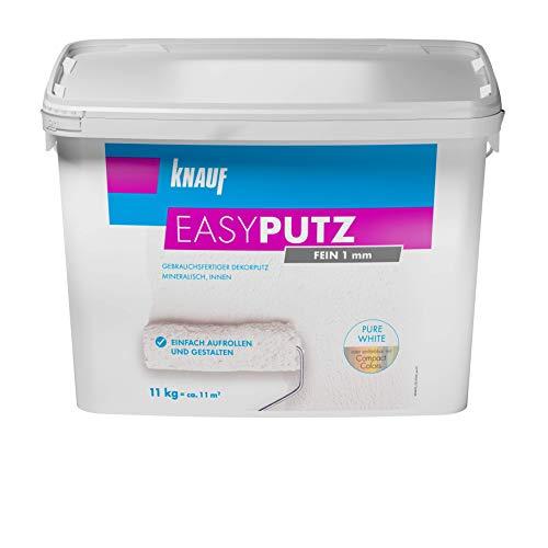 Knauf 696536 Fein 11 kg 1 mm EASYPUTZ, schneeweißer, mineralischer Dekorputz, hochwertig, zum einfachen Aufrollen auf Wand oder Decke im Innenbereich, atmungsaktiv, 1,0 mm Körnung