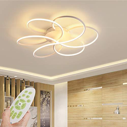 LED Dimmbare Deckenleuchte Moderne Wohnzimmerlampe Mit Fernbedienung Minimalistische Deckenlampe Kreative Metall Acryl Design Beleuchtung Hängeleuchte Schlafzimmer Büro Halle Dekor Lampe (Weiß)
