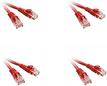 3 Pack Cat5e Ethernet Patch Cable Snagless//Molded Boot 4 Feet Red CNE486098