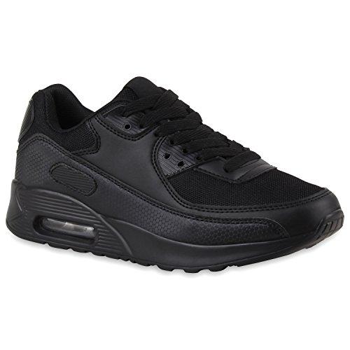 stiefelparadies - Zapatillas de running unisex para mujer, hombre o niño, talla grande, color Negro, talla 44 EU