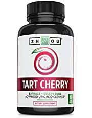 ZHOU Tart Cherry Extract with Celery Seed   Advanced Uric Acid Cleanse for Joint Comfort, Healthy Sleep Cycles & Muscle Recovery   30 Servings, 60 Veggie Caps