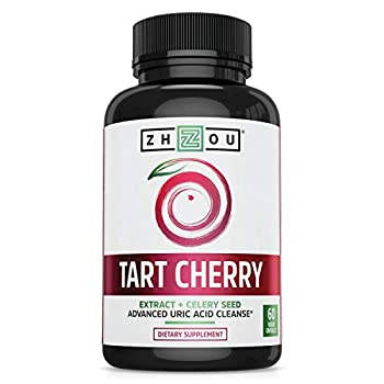 ZHOU Tart Cherry Extract with Celery Seed | Advanced Uric Acid Cleanse for Joint Comfort Healthy Sleep Cycles & Muscle Recovery | 30 Servings 60 Veggie Caps