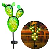 "Kaixoxin Garden Solar Lights Outdoor Metal Cactus Decorative Stake, Solar Pathway Lights with 9 Warm White Waterproof LED, 32.75"" Tall"