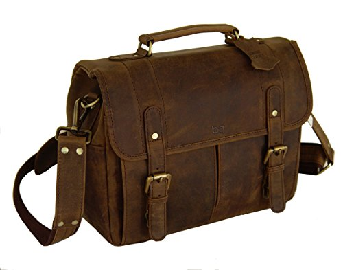 Vintage Rustic Look Leather Camera Messenger Bag by Basic Gear for DSLR/Mirrorless Sony, Canon, Nikon, Olympus, Pentax, Fuji - Fits Lenses and Accessories