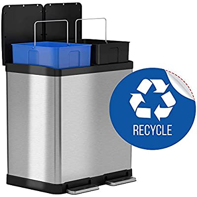 iTouchless 16 Gallon Dual Step Trash Can & Recycle Bin Stainless Steel 2 x 8 Gallon (30L) Removable Buckets with Handles, Soft-Close and Airtight – Recycle Decal Included, Silver 16 Gal (Renewed)