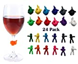 Silicone Drink Markers Wine Glass,Reuseable Glass Drink Markers Wine Glass Charms Markers Wine Glass identifier for Guests,Hostess Gift,Dinner Parties Champagne Flutes Cocktails, Martinis (24 Pack)