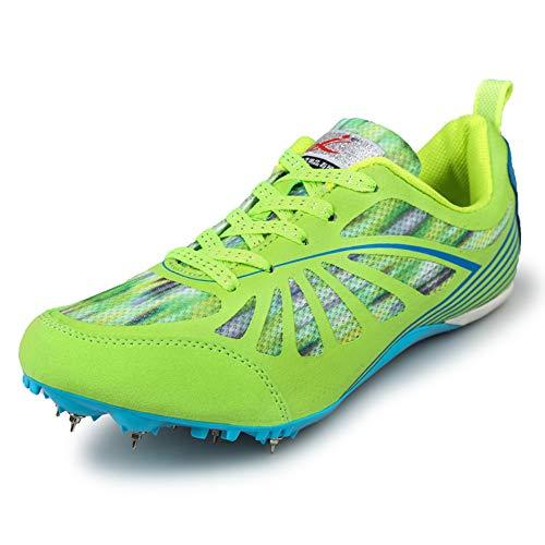 Charmstep Männer Frauen Spikes Leichtathletik Rennen Rennen 6 Spikes Schuhe Track and Field Sneaker Gummikette für Jungen Mädchen,Grün,38EU