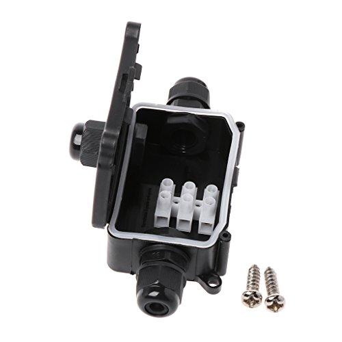 ligerhoustyカセットプレーヤー、2 / 3Way IP66屋外防水ケーブルコネクタジャンクションボックス(端子450V付き)-黒