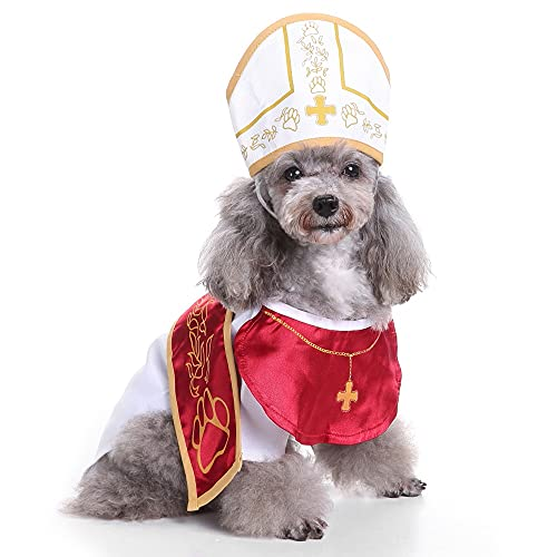 Pope Dog Costume - Halloween Holy Hound Dog Costume, Cute Holy Father Dog Cosplay Costume for Puppy Small Medium Dogs, Funny Pontiff Dress Special Events Photo Props Accessories